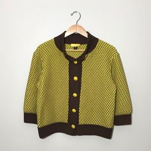 SoCa by St. John yellow and brown cardigan sweater